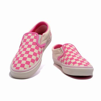 Womens Vans Washed Checker Slip-On Pink